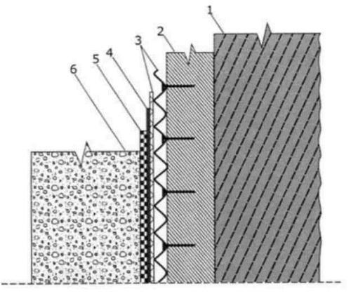 Гидроизоляция жидкой резиной фундаментной стены на дренажной пленке опорной стены