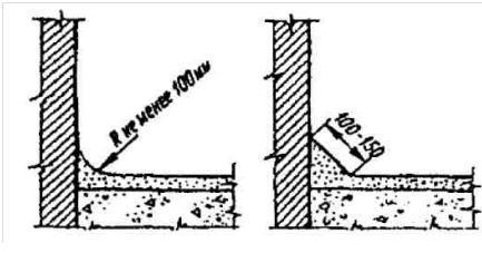 Примыкание стяжки к стенам и парапетам