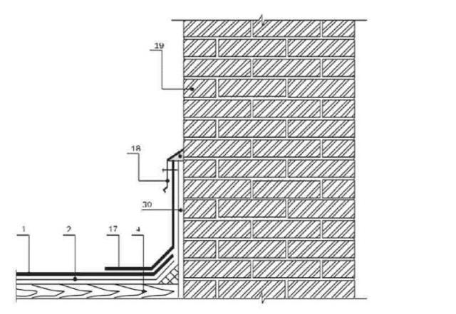 Устройство узлов примыкания кровли к кирпичной стене с использованием покрытия «жидкая резина»